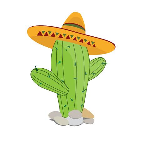 Cactus in sombrero, cactus vector, desert cactus, mexican hat Vektorové ilustrace