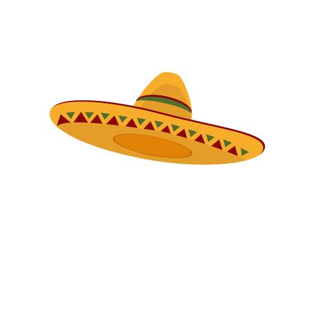 chapeau de paille: Chapeau mexicain, sombrero, chapeau mexicain isolé, vecteur de chapeau mexicain Illustration