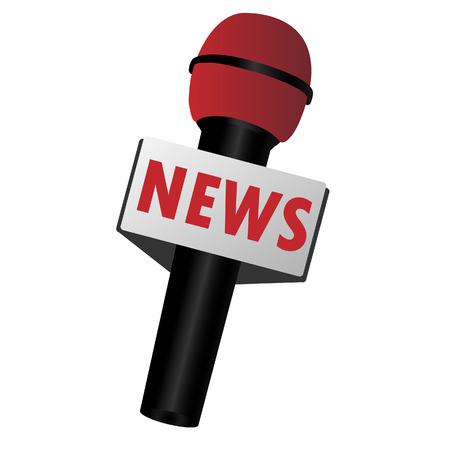 reportero: Micrófono, difusión, newsmaker, el periodismo, el vector aislado en blanco