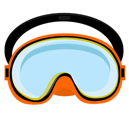 diving equipment: Orange diving mask, diving mask, mask isolated, diving equipment