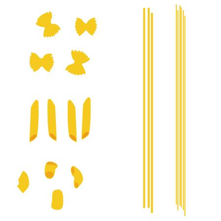 macaroni: Spaghetti set, pasta collection, macaroni icon, pasta types