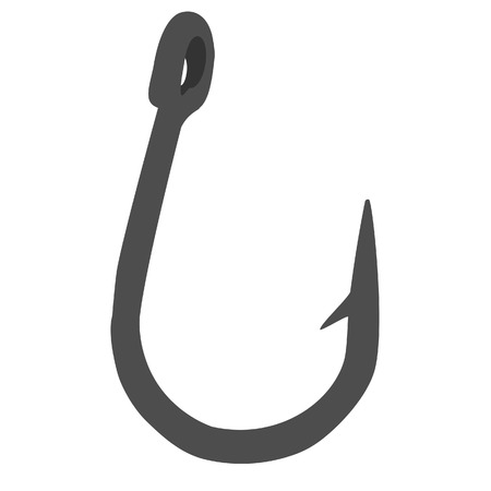 fishhook: Grey fishing hook vector isolated on white