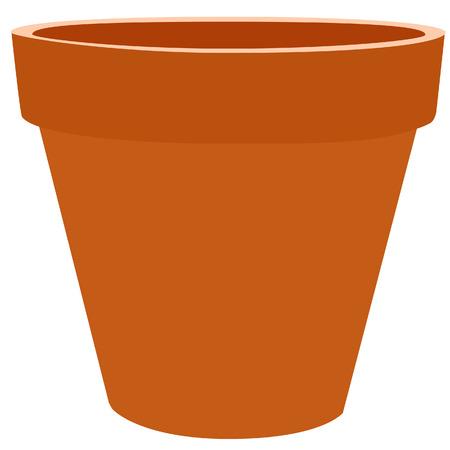 earthenware: Brow flower pot, gardening equipment, garden pot, isolated on white