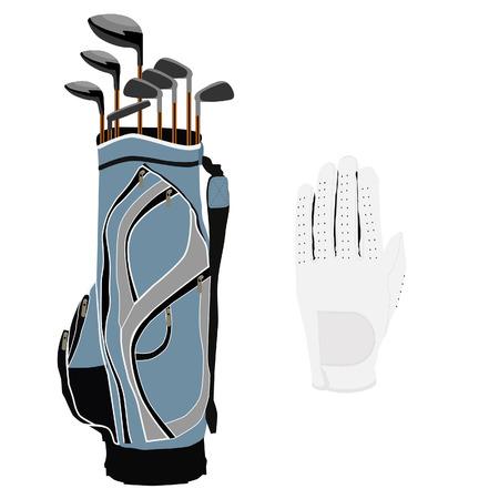 Blue golf clubs bag, sport equipment, white gloves Illustration