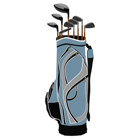 Bleu sac de clubs de golf, matériel de sport, isolé sur blanc