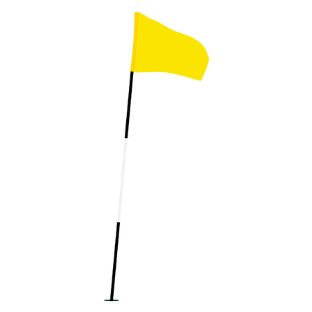 Yellow golf flag isolated on white vector, sport equipment