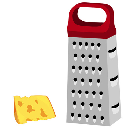 Cheese grater, red handle, grater isolated, grater vector, cheese Vetores