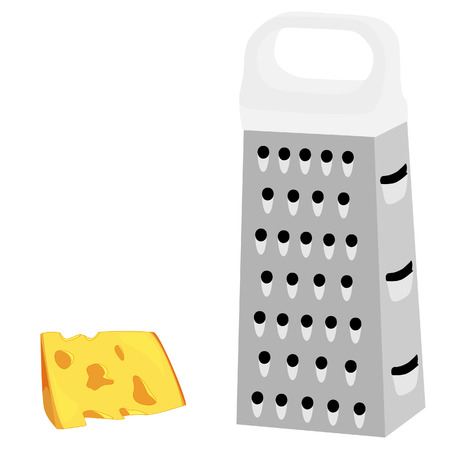 grater: Cheese grater, white handle, grater isolated, grater vector, cheese Illustration