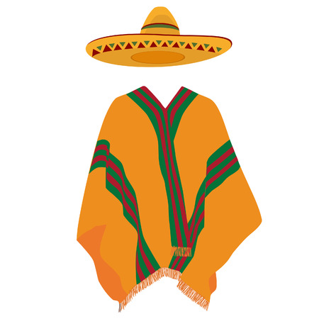 sombrero: Mexican poncho, sombrero,mexico, mexican hat, vector, isolated on white