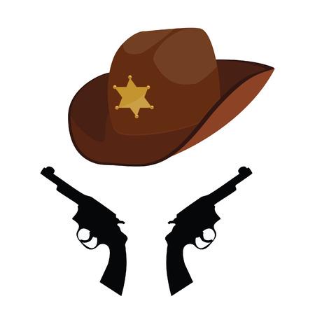 stetson: Brown sheriff hat, sheriff hat, cowbay hat, stetson Illustration