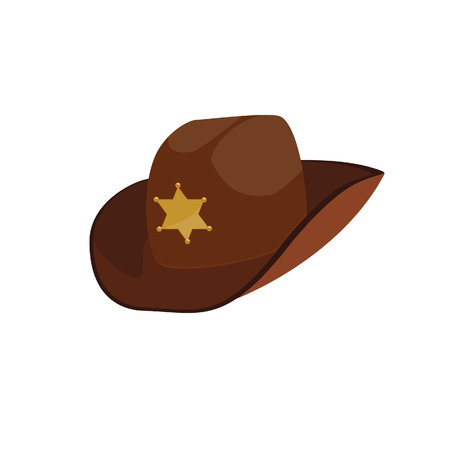 Brown sheriff hat, sheriff hat, cowbay hat, stetson Ilustrace