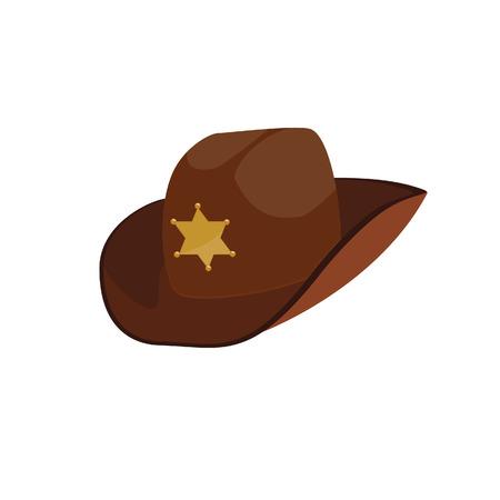 Brown sheriff hat, sheriff hat, cowbay hat, stetson Illustration