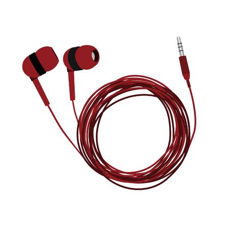 earphones: Headphones, earphones, earphones isolated, red headphones, headphones vector