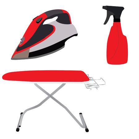 Strijkplank, strijkijzer vector, spray, huishoudelijke apparaten