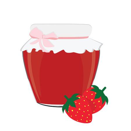 Strawberry jam, bank of strawberrry jam, strawberrry jam isolated Vector
