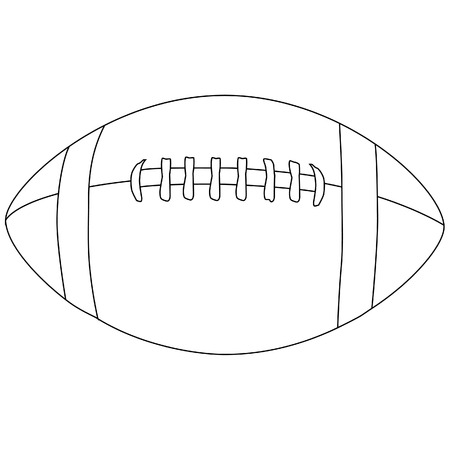 American football ball, outline, vector, isolated on white