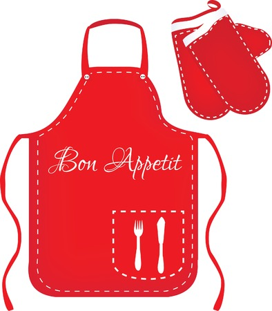 Red apron, chef apron, kitchen apron, kitchen mittens, mittens vector, apron vector