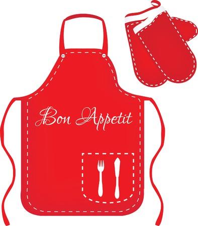 Red apron, chef apron, kitchen apron, kitchen mittens, mittens vector, apron vector Illustration