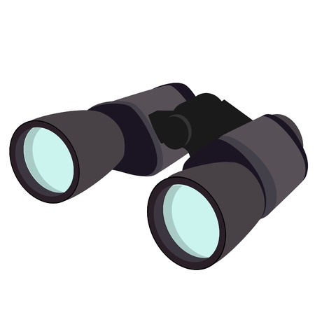 Grey binocular, binoculars isolated, binoculars icon, discovery Illustration