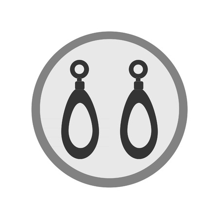 earring: Earring pair silhouette vector flat icon isolated Illustration