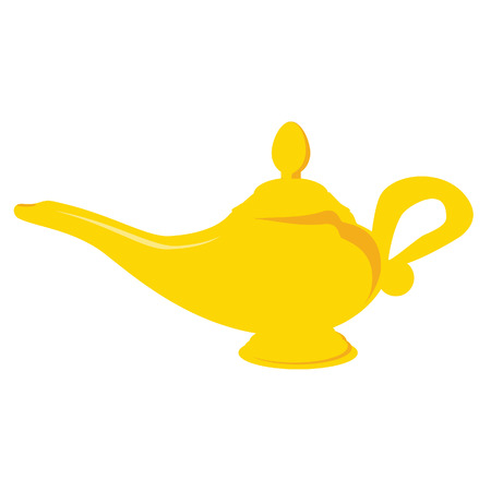 Golden aladdin magic lamp vector isolated, alladin lamp, aladin lamp
