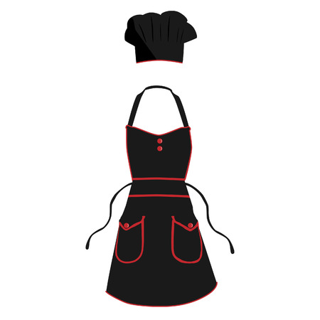 protective apron: Black and red kitchen, protective apron and chef hat vector set