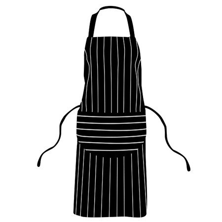 waiter: Black, striped kitchen apron vector isolated, chef apron