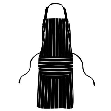 Zwart, geïsoleerd gestreept keukenschort vector, chef-kok schort