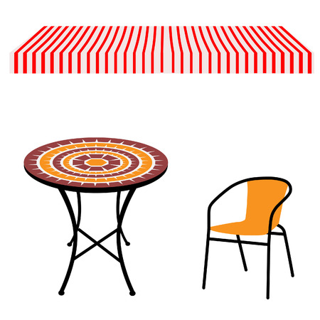 outdoor dining: Striped red and white shop window awning and vintage outdoor table and chair.Round table and chair vector Illustration