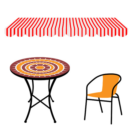 outdoor chair: Striped red and white shop window awning and vintage outdoor table and chair.Round table and chair vector Illustration