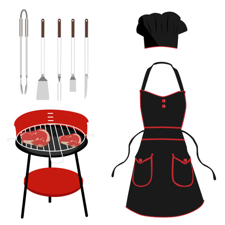protective apron: Black and red kitchen, protective apron and chef hat. Barbeque grill with meat and barbeque tools. Grilling utensil