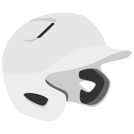 batting: White baseball helmet vector isolated, batting helmet