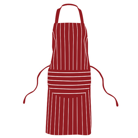 apron: Red, striped kitchen apron vector isolated, chef apron