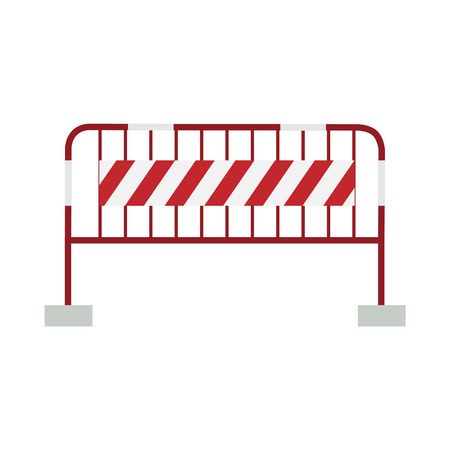 barricade: Red, white and striped road barrier,barricade, road block vector isolated Illustration