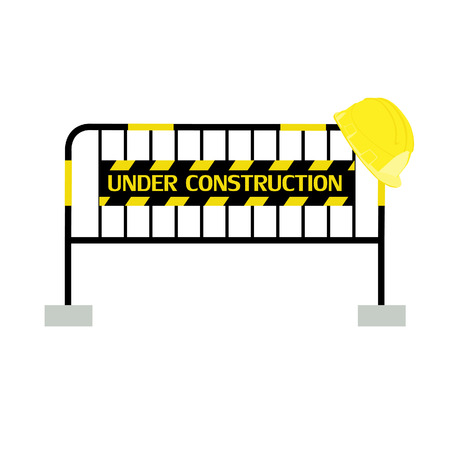 barricade: Yellow,black, striped road barrier with under construction sign and yellow building helmet ,barricade, road block vector isolated Illustration