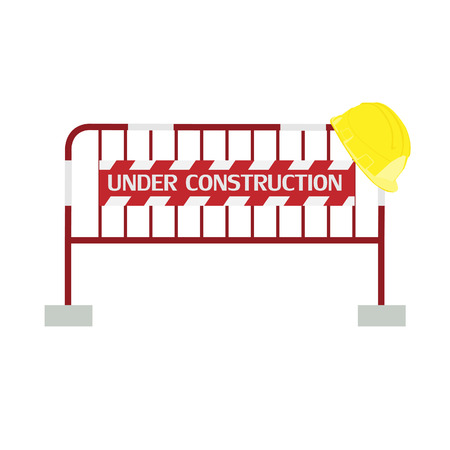 diversion: Red,white, striped road barrier with under construction sign and yellow building helmet ,barricade, road block vector isolated