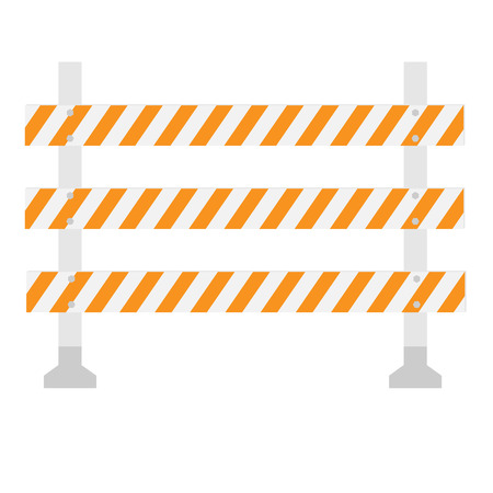 diversion: Orange and white, triple, striped road barrier,barricade, road block vector isolated