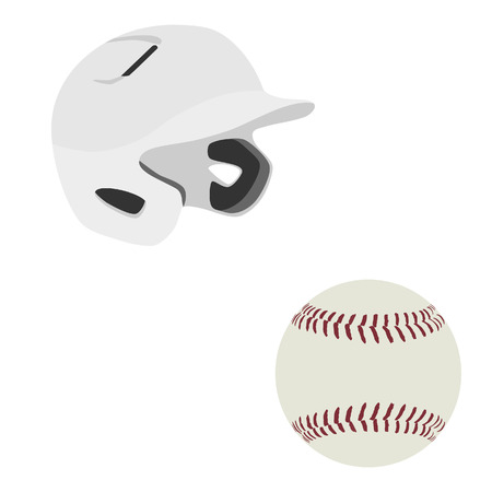 batting: White baseball batting helmet and baseball ball vector isolated Illustration