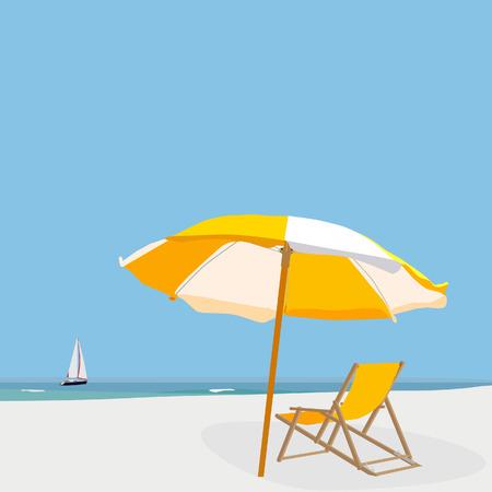 sky  sea: Beach illustrazione cielo azzurro, mare, sabbia, ombrellone, sedia a sdraio e barche a vela Vettoriali