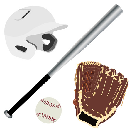hitter: White baseball batting helmet, brown leather baseball glove, metallic baseball bat and baseball ball vector isolated