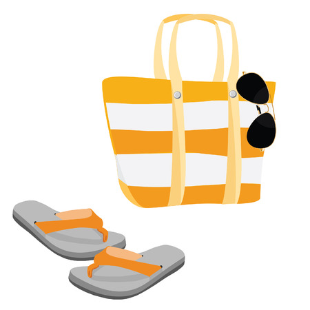 aviator: Beach set with beach bag, sunglasses aviator and flip flop vector Illustration