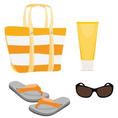 sun cream: Beach set with beach bag, sun cream, sunglasses and flip flop vector