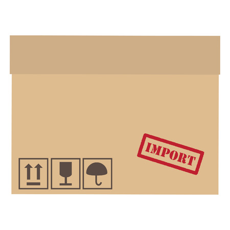 keep up: Brown,closed, cardboard box with red rubber stamp import and symbols fragile, keep dry,sign up vector