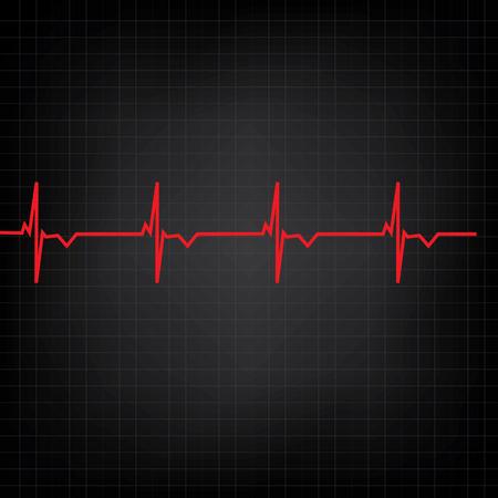 Red ekg line on black background, heart monitor,heart rhythm vector Vector