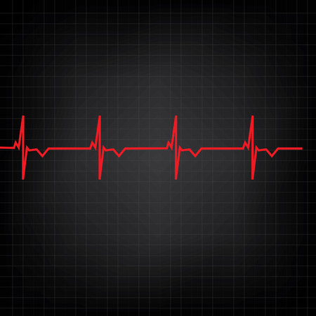 heart monitor: Red ekg line on black background, heart monitor,heart rhythm vector