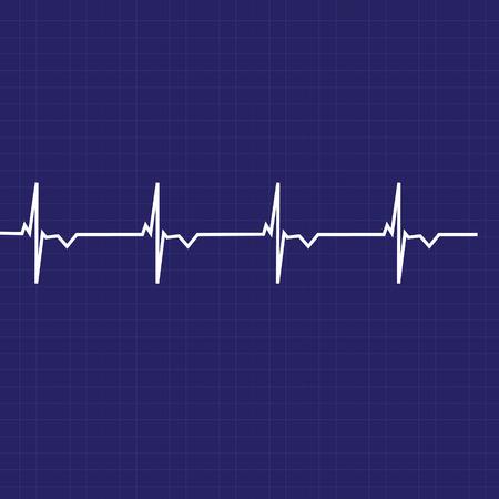 heart monitor: Blue ekg line on black background, heart monitor,heart rhythm vector