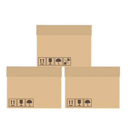 keep up: Three, brown, cardboard boxes with symbols symbols keep dry, fragile, no sun, sign up vector