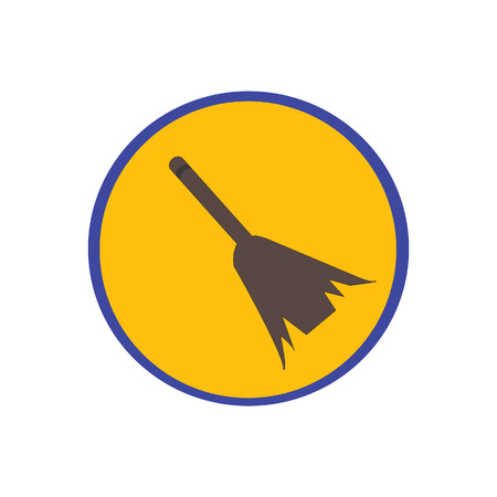 tidy: Sweeping broom vector icon, cleaning broom, sweeping brush Illustration
