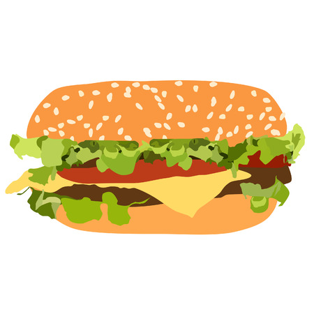 gourmet: Burger vector isolated, chicken burger, gourmet burger Illustration