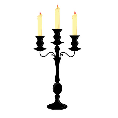 Candle holder, black candlestick with three burning candles vector